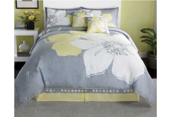 15 Pieces MARISOL Yellow Grey White Comforter Bed in a bag Set QUEEN ...