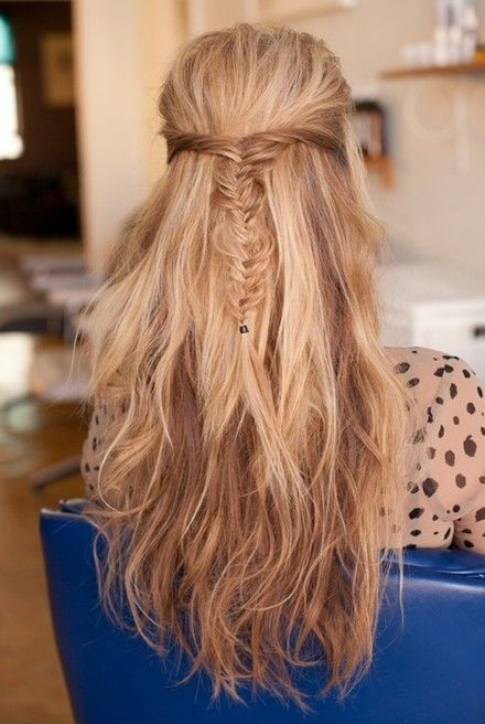Fishtail Hairstyle Gorgeous Messy Fishtail Braid Halfup Halfdown Hairstyles Long Hair