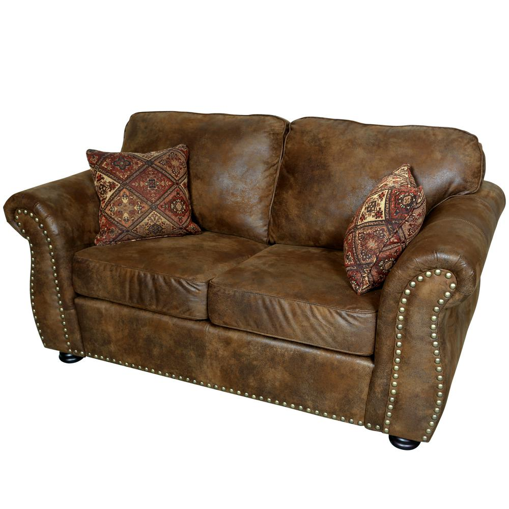 Elk River Brown Transitional Leather Look With Nailhead Loveseat Nailhead Loveseat Love Seat Leather Sofa And Loveseat