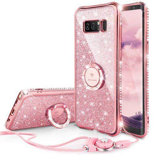 9cd67c0edd0b Galaxy Note 8 Case, Glitter Cute Phone Case Girls with Kickstand, Bling  Diamond Rhinestone