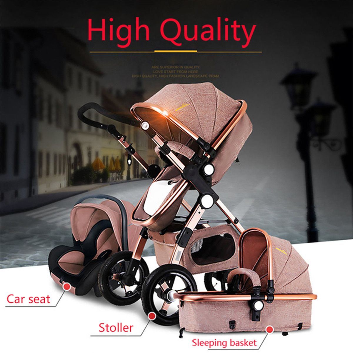3 IN 1 Multifunction Baby Stroller High View Pram Foldable