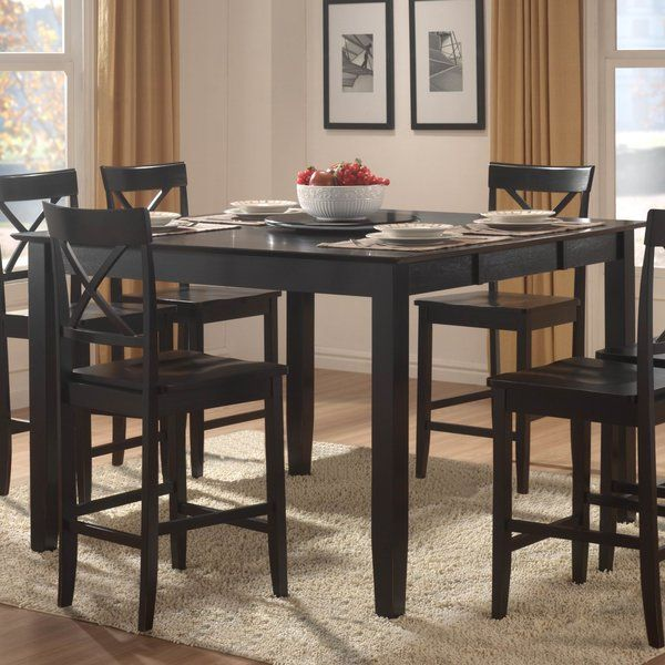 Clean Lines Pair With A Rich Black Finish To Round Out This Understated Counter Height Table A Must Dining Table Dining Table In Kitchen Counter Height Table