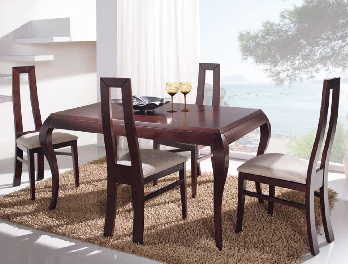 Mesa de comedor modelo isabelina realizada en madera de for Modelos de mesas de comedor