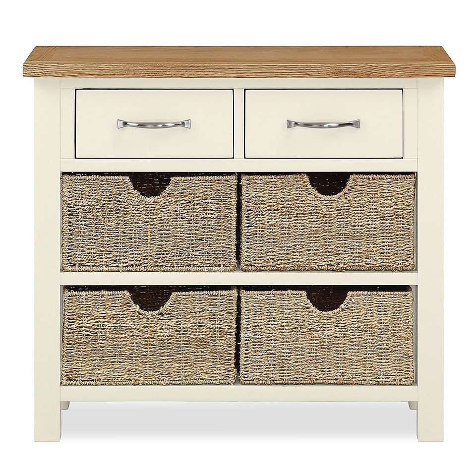 Sidmouth cream console table with baskets console tables and sidmouth cream console table with baskets geotapseo Images