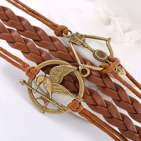 Hunger Games Bracelet - Rebel Style Shop -  The rope chain and vintage bronze metals will complement your Boho chic looks are well as your grunge outfits.