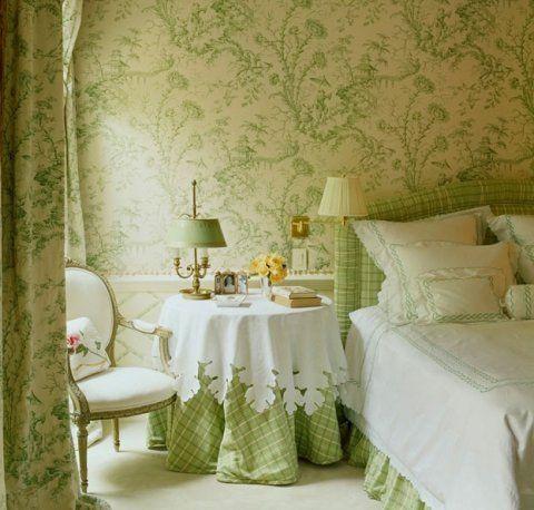 Toile & plaid in apple green.  Designer: Alessandra Branca