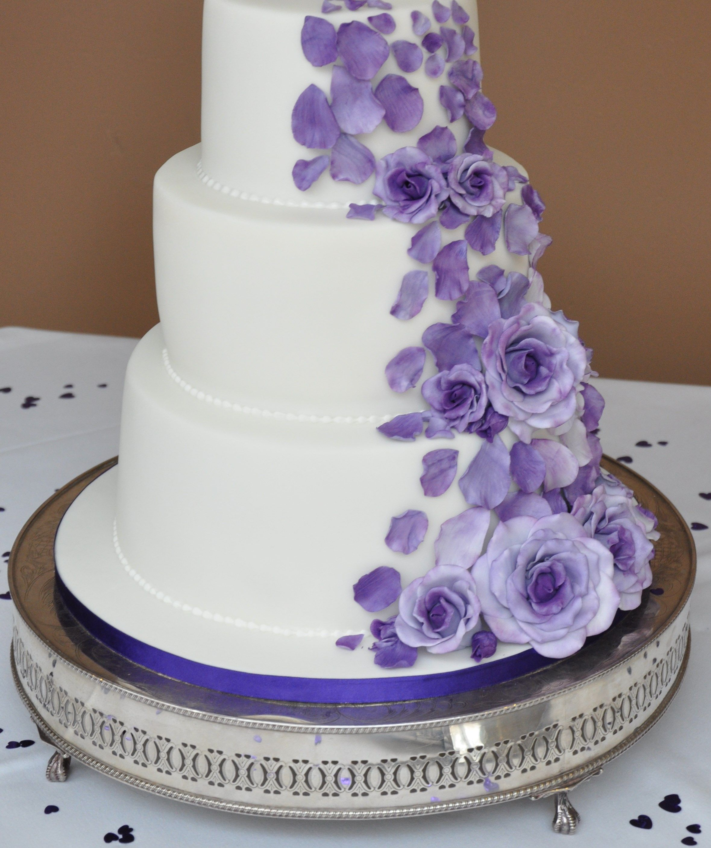 Cascading purple roses Wedding Cake by Sweet Bliss Bakes | Wedding ...