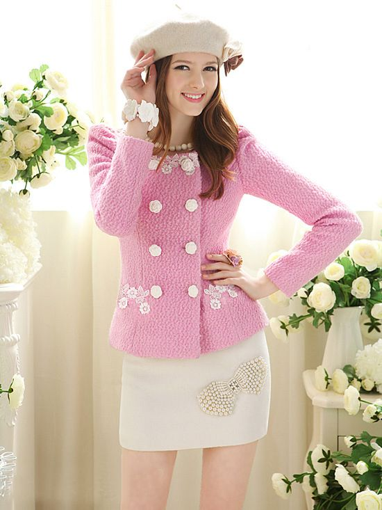Morpheus Boutique  - Pink Knit Lace Bow Shoulder Long Sleeve Holiday Jacket