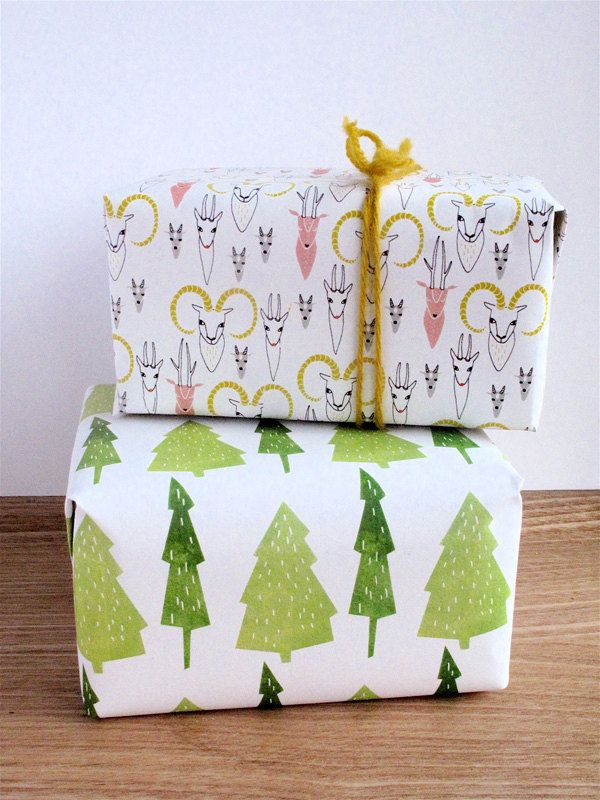Printable Christmas gift wrap paper -Trees and antlers via Etsy