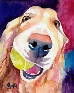 Labrador Retriever 11x14 signed art PRINT RJK painting Yellow Lab
