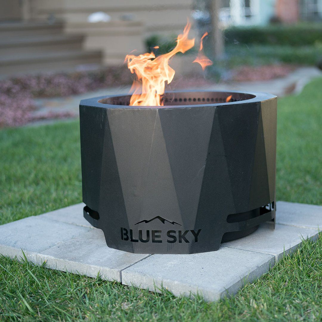 Bring The Heat To Your Backyard The Blue Sky Patio Pellet Fire Pit Burns Wood Pellets With Little Smoke Spark Outdoor Fire Pit Designs Fire Pit Fire Pit Tray