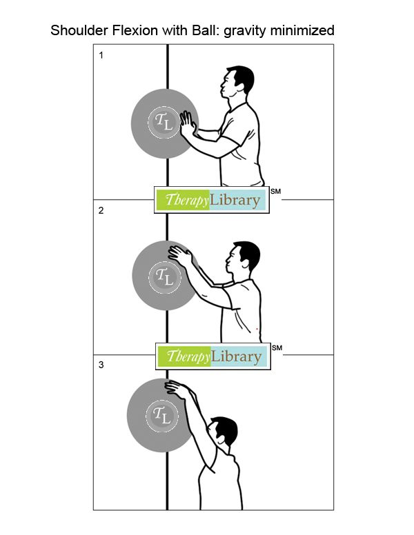 Promoting increased shoulder flexion using a physioball