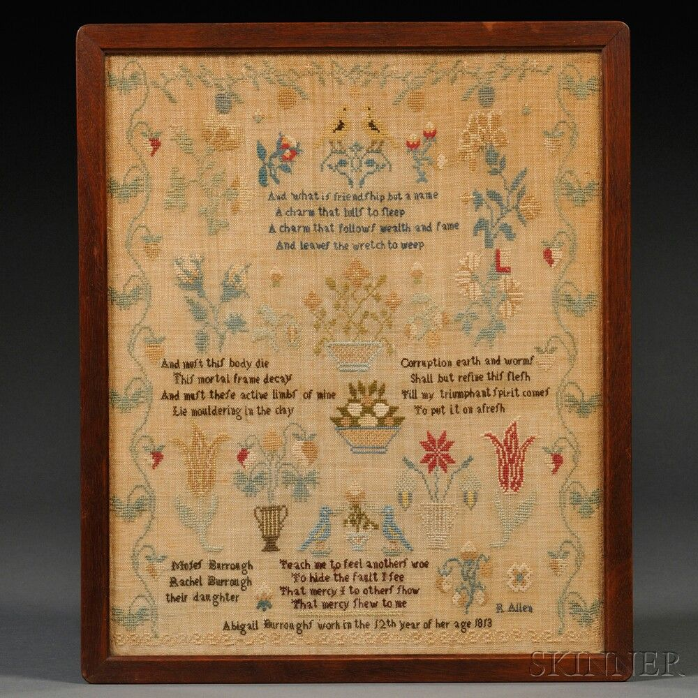 Framed Early 19th Century Silk Needlework Sampler   Sale Number 2664M, Lot Number 811   Skinner Auctioneers