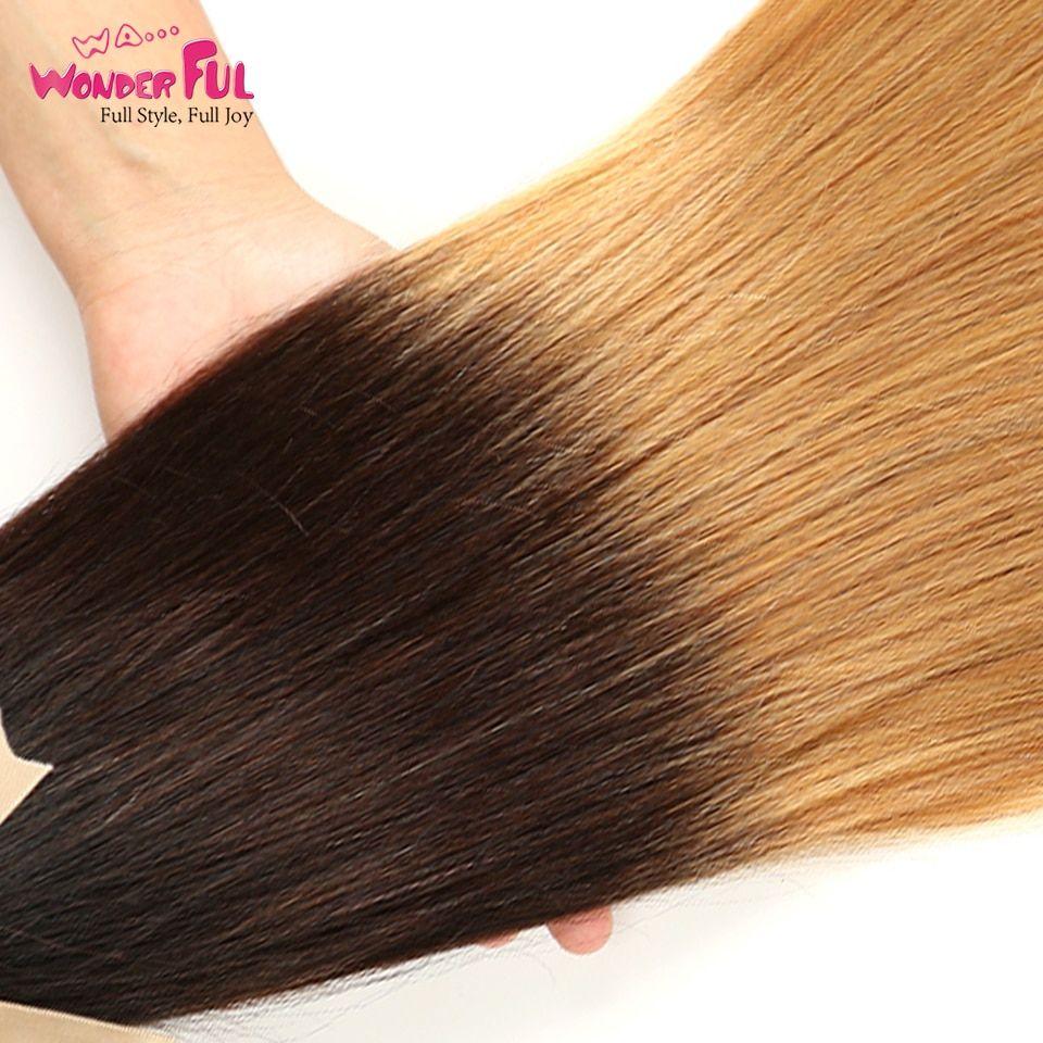 Wa Wonderful Indian Human Hair Weave Bundles Straight Omber