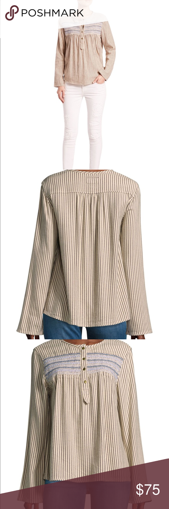 Current/Elliot Retreat Henley in Stripe Size 0 NWT Brand new with tag, Size 0 - would fit an Xsmall, color name is atlas stripe, button front closure Current/Elliott Tops Blouses