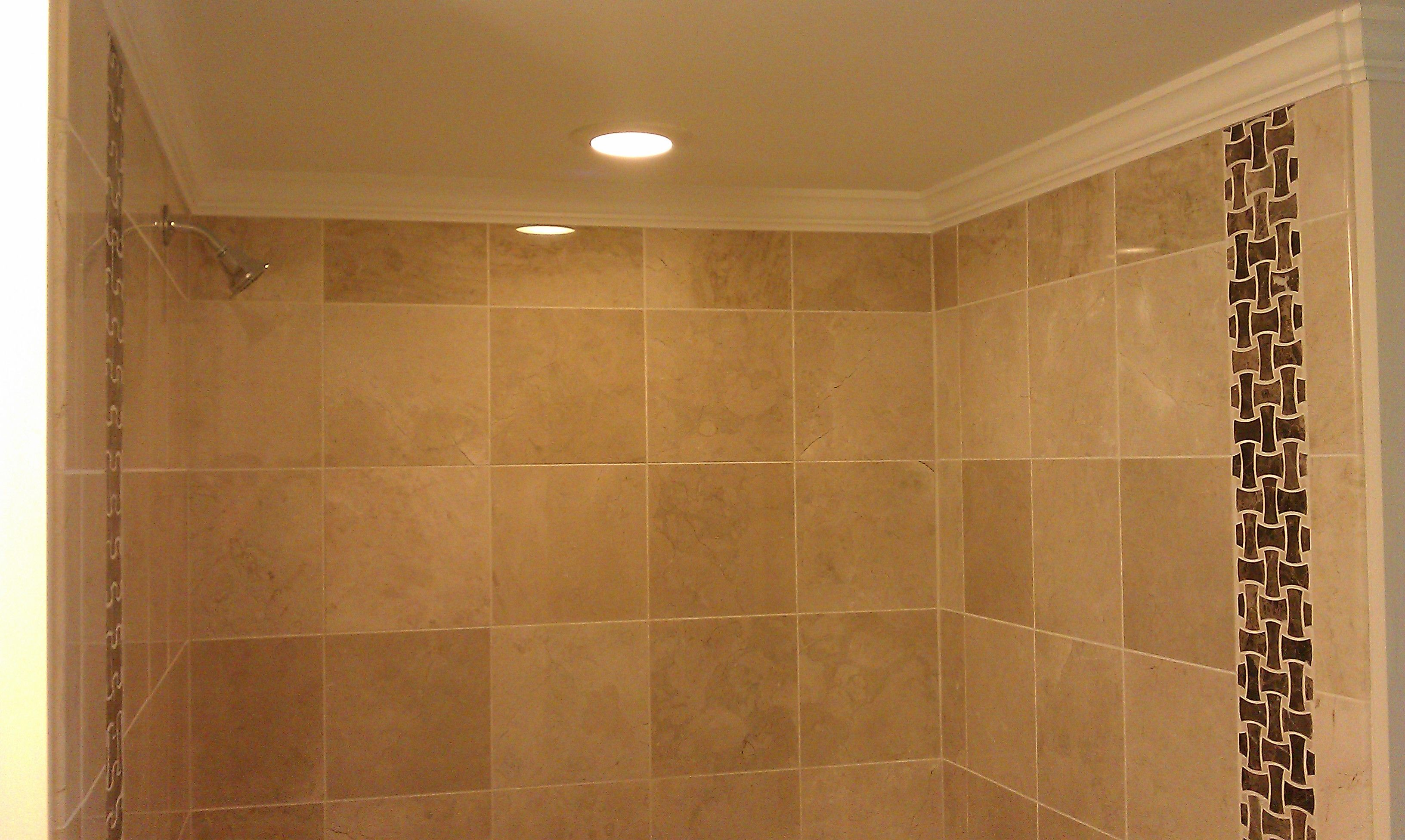Marble tile done with crown molding installed at top corner. | Floor ...