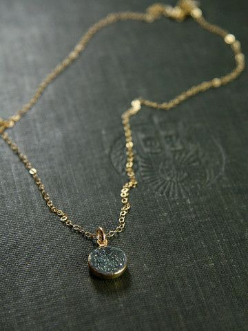 Tiny Drusy Necklace, 14k Gold Filled Jewelry - Stargazing on the Greens