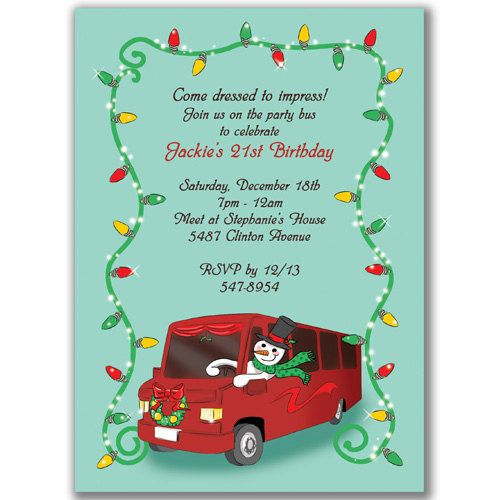 Christmas Party Bus Invitations For A Holiday Birthday Bridal Or