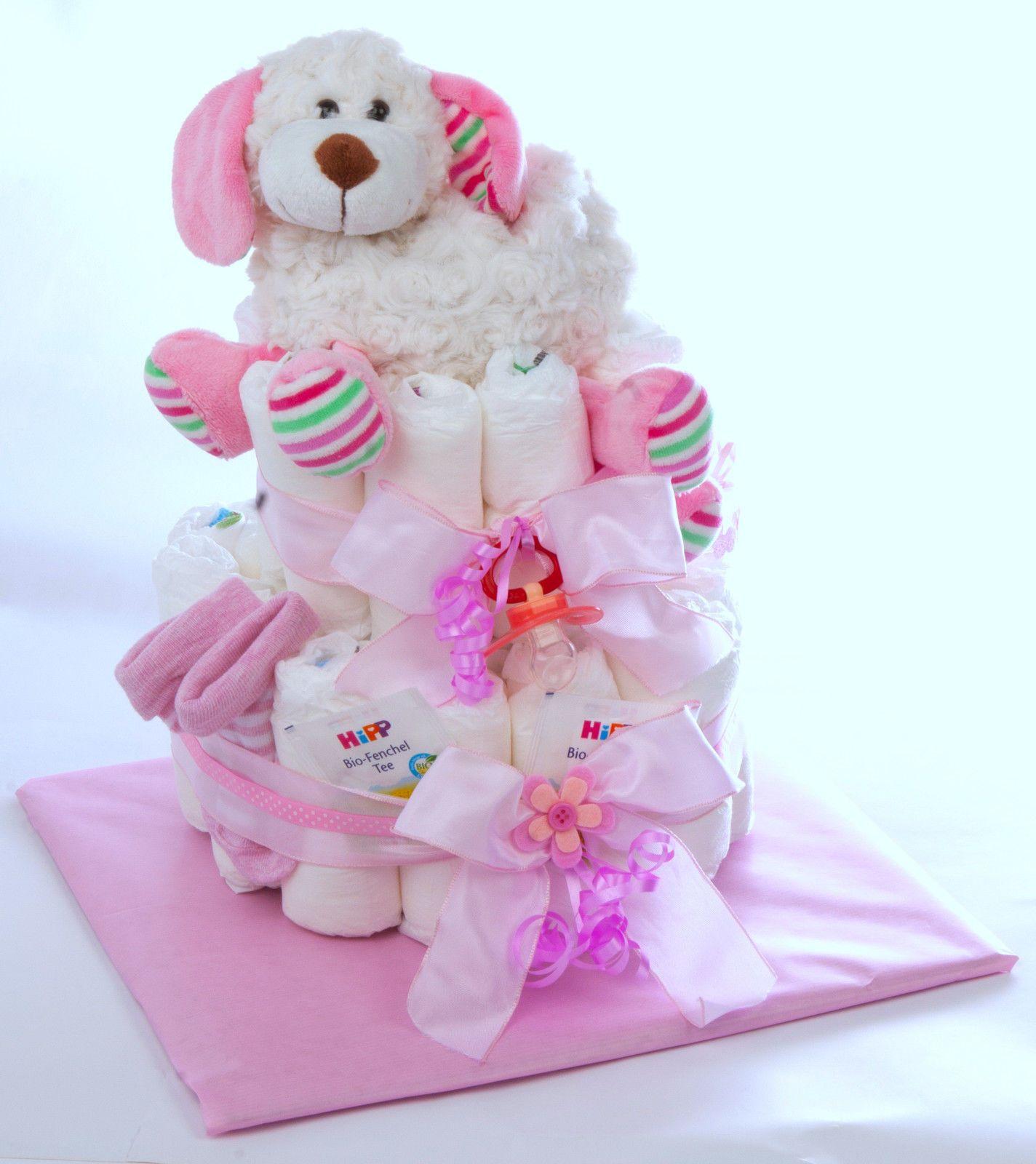 Windeltorte PAMPERS*Baby Mädchen*Wärmekissen Tierfigur Hund Geburt Mitbringsel