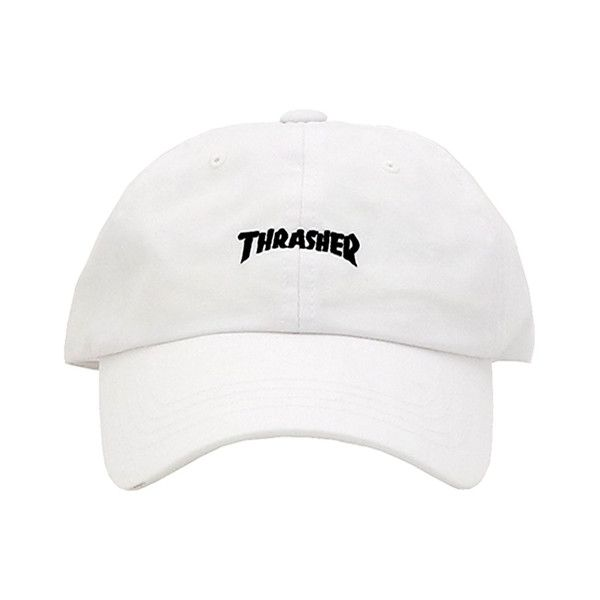 THRASHER WASH CAP WHITE ( 37) ❤ liked on Polyvore featuring accessories a760c6e2499
