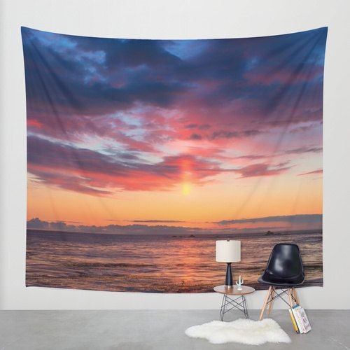 Pink Tapestry Sunset Wall Hanging Modern Dorm Room by ArleneCarley