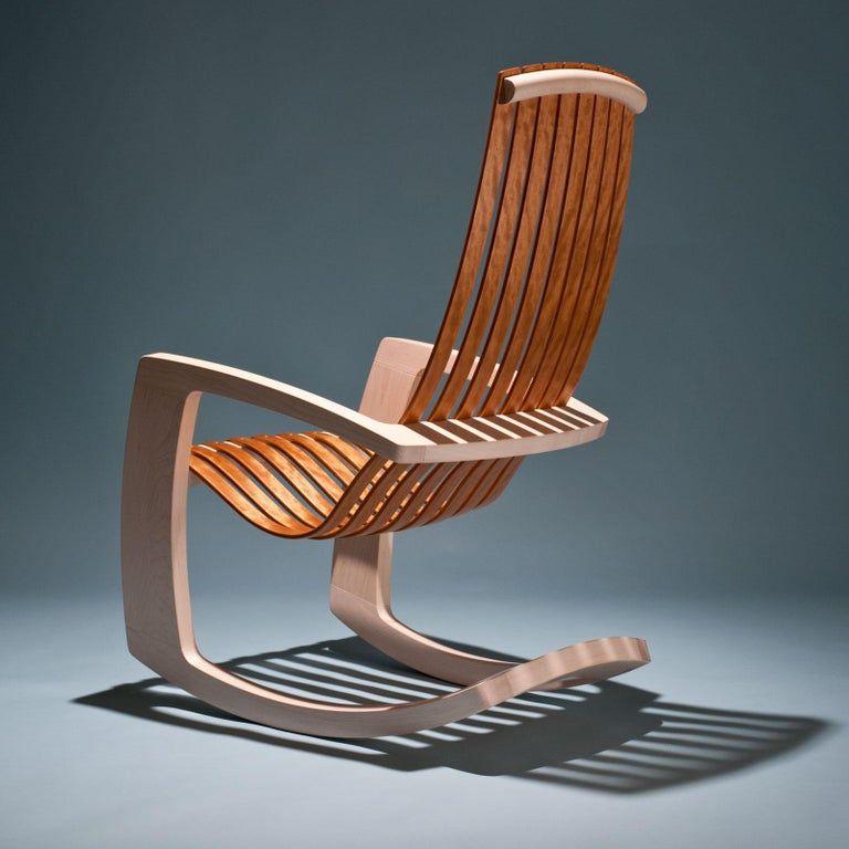 J Rusten Studio Crafted Sculptural Modern Rocking Chair In Maple And Cherry Modern Rocking Chair Rocking Chair Wood Rocking Chair