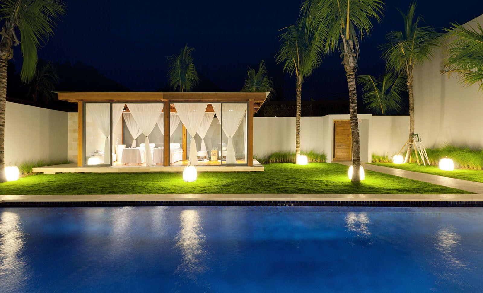 spa gazebo and swimming pool