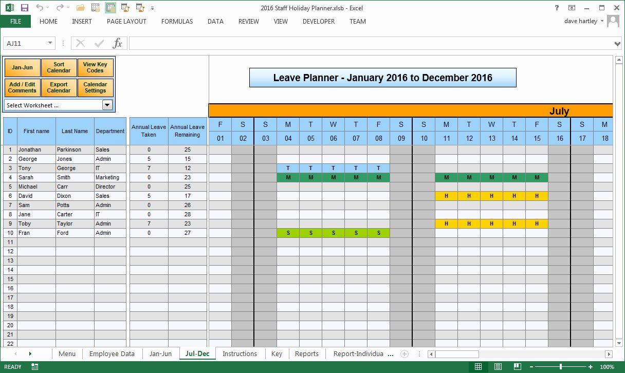 Vacation Schedule Template 2016 Luxury 2016 Employee