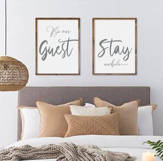 "Guest room decor | be our guest stay awhile | framed signs | wood signs | farmhouse wall decor | farmhouse signs | set of 2 | 21""x27"" each images"