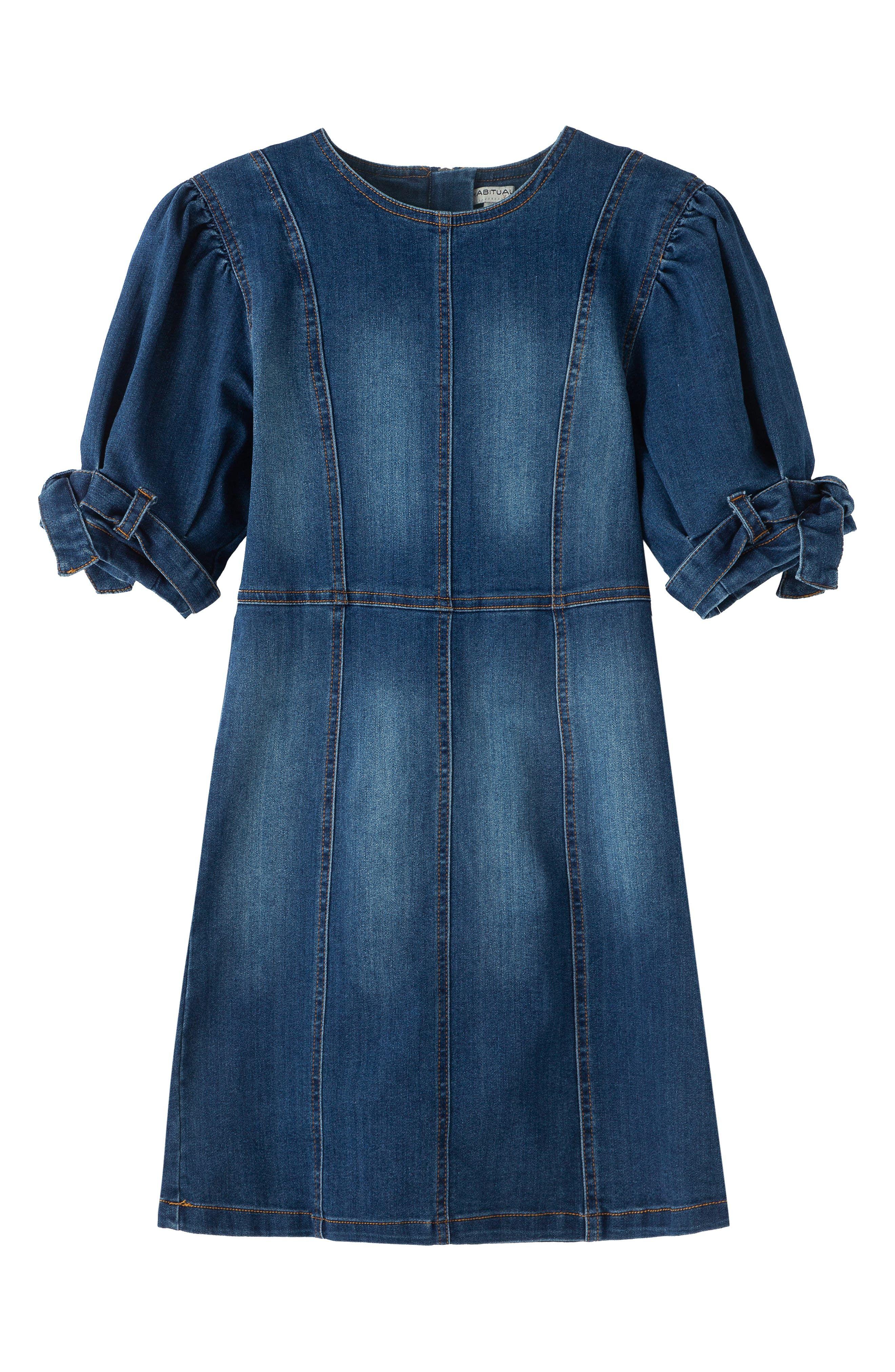 HABITUAL girl Girls Puff Sleeve Sweater Knit Dress Big Kids