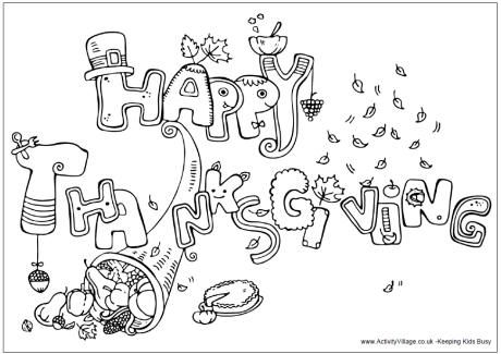 Happy Thanksgiving colouring page Thanksgiving Free
