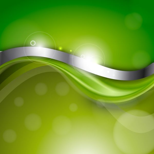Green Abstract Background With Silver Wave Vector