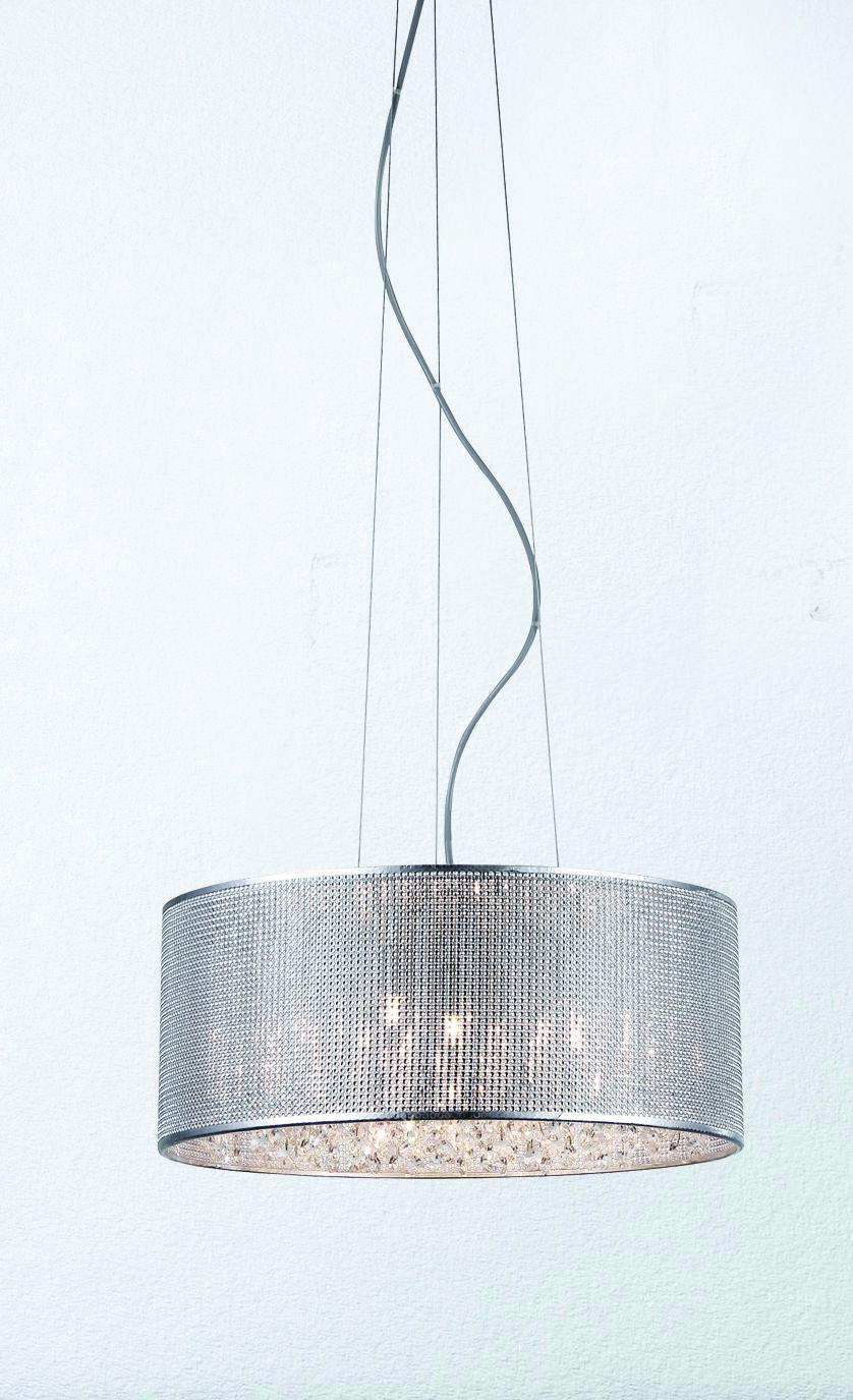 Patriot Lighting Elegant Home Cidy Pendant Light With Chrome Finish Mesh Shade And Inner