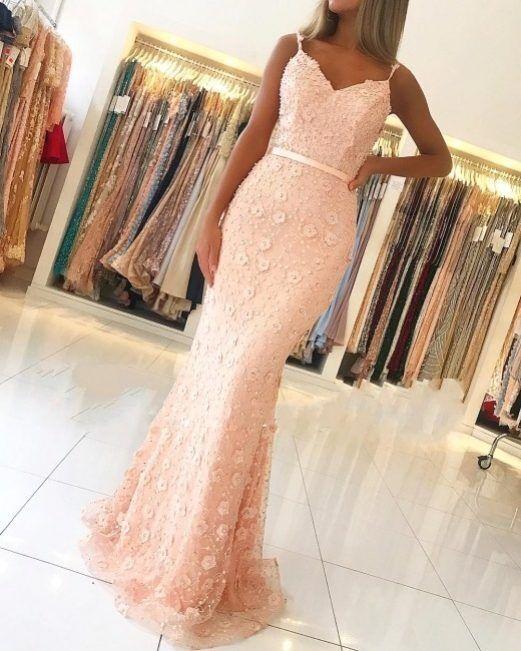 Luxus abendkleider lang rosa abiballkleider spitze online ...