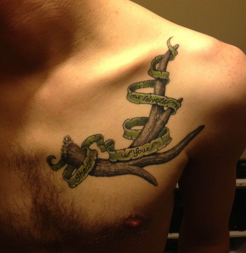 Simple Antler Tattoo: Antler After Second Session By Needles At