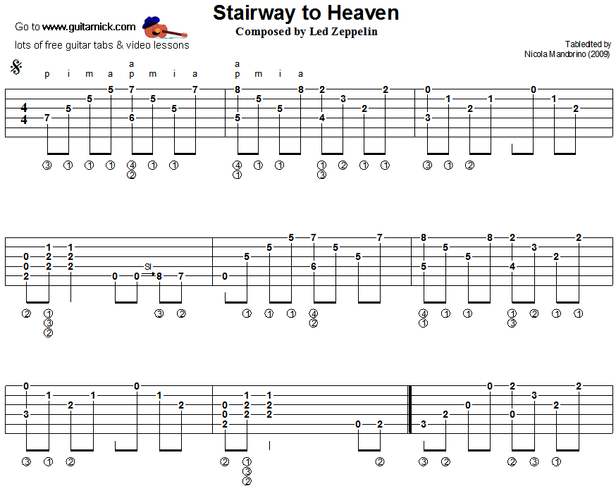 Stairway To Heaven Led Zeppelin Fingerstyle Guitar Tab 1 Guitar