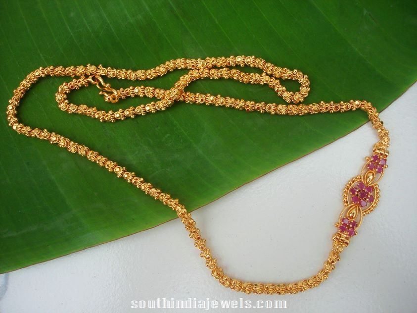 Imitation chains with side mogappu | pusthal thadu | Pinterest ...
