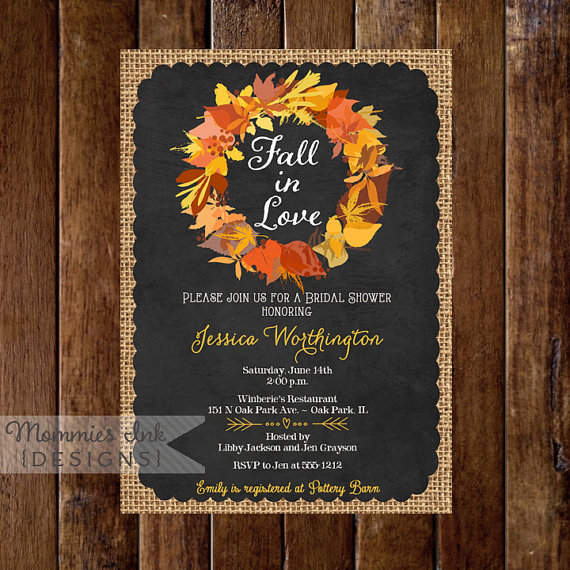 Fall Color Wedding Invitations: Fall Colors Wreath With Burlap And Chalkboard Bridal