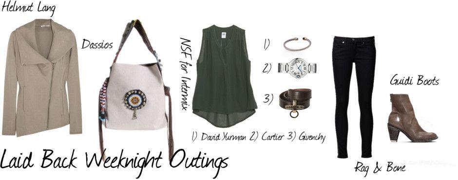 Laid Back Weeknight Outings #HelmutLang #Dassios #Intermix #Cartier #Givenchy #DavidYurman #Rag&Bone #Guidi