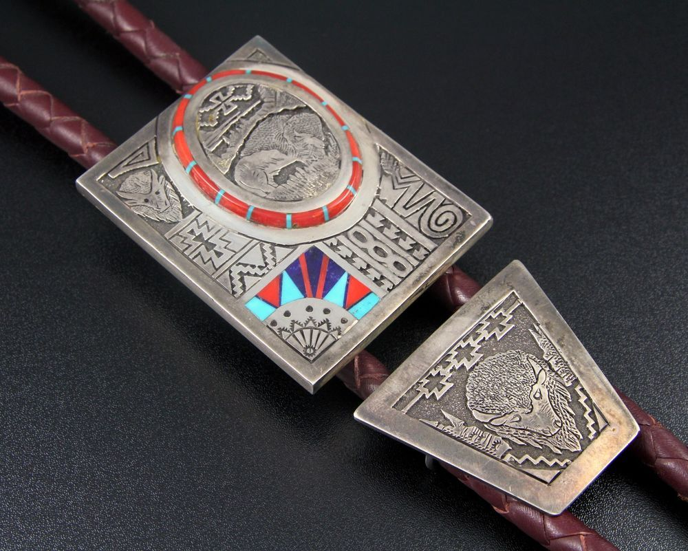 HUGE NAVAJO STERLING SILVER & MOSAIC INLAY BUFFALO BOLO TIE by ABRAHAM BEGAY