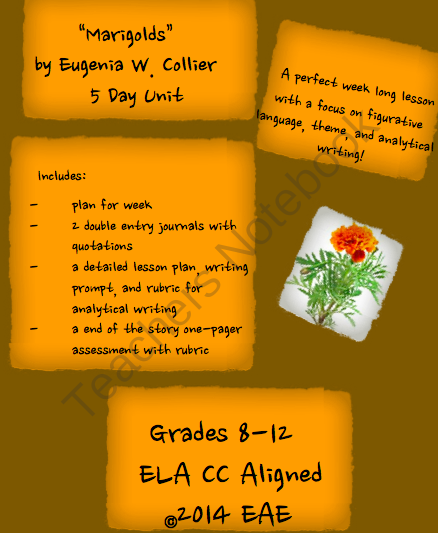 marigolds by eugenia w collier day unit from mrs eae on  marigolds by eugenia w collier 5 day unit from mrs eae on teachersnotebook