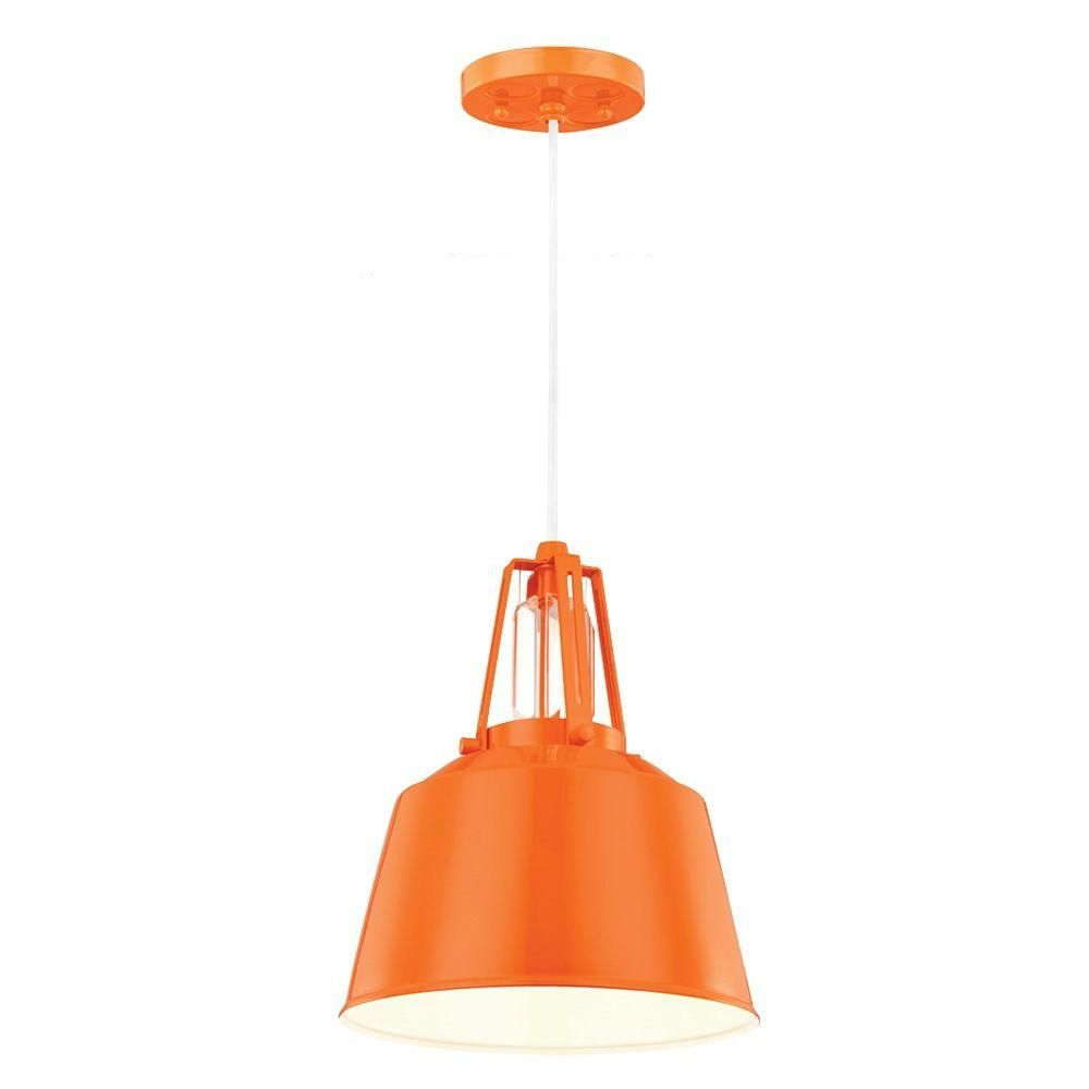 Feiss Freemont 1 Light Hi Gloss Orange Mini Pendant