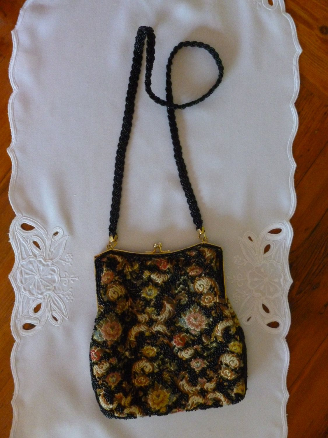 Vintage Beaded Floral Tapestry Evening Bag with Black Beaded Strap and Gold Tone Clasp, Vintage Bag, Tapestry Bag, Christmas Gift