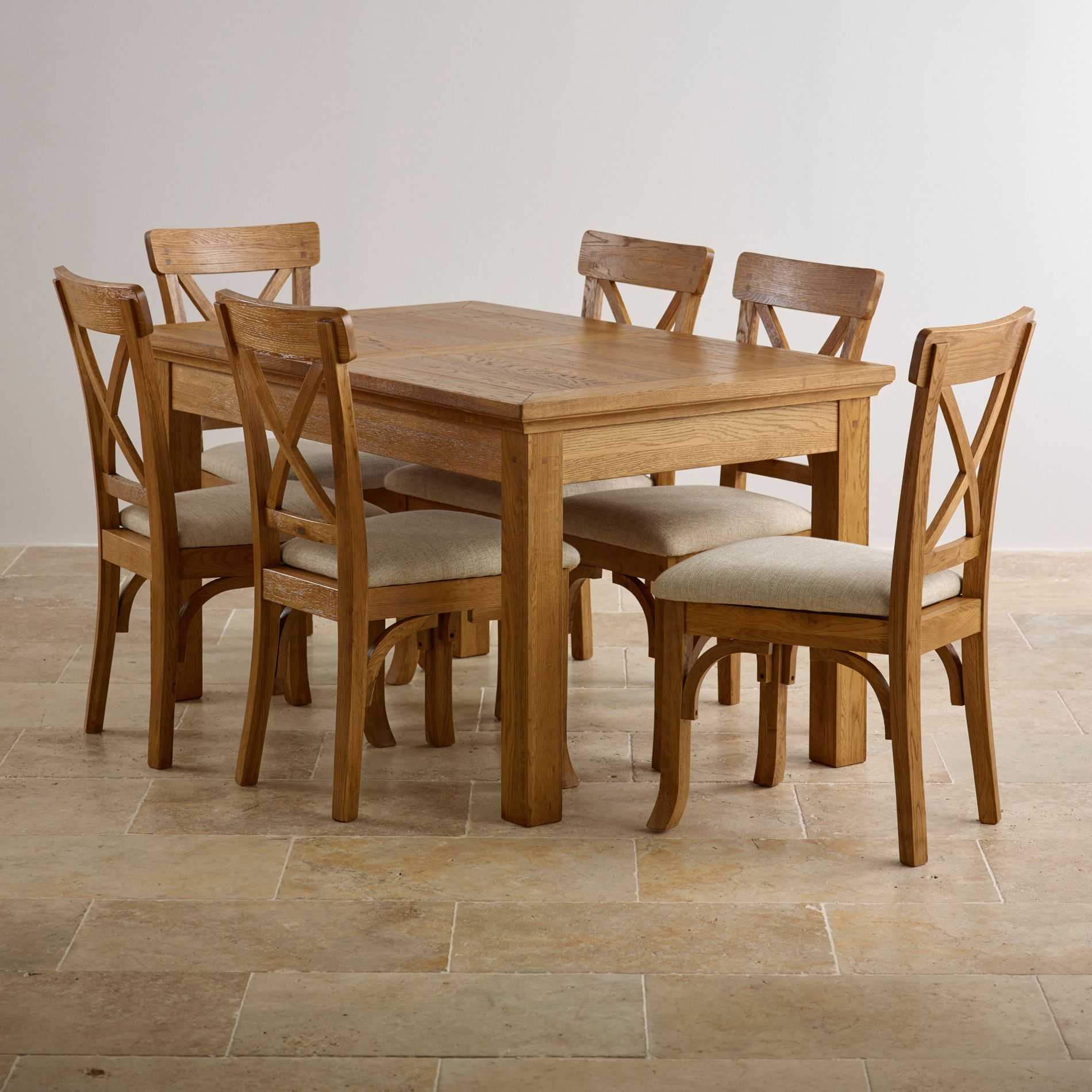 extendable dining set in rustic brushed solid oak - Solid Oak Extending Dining Table And 6 Chairs