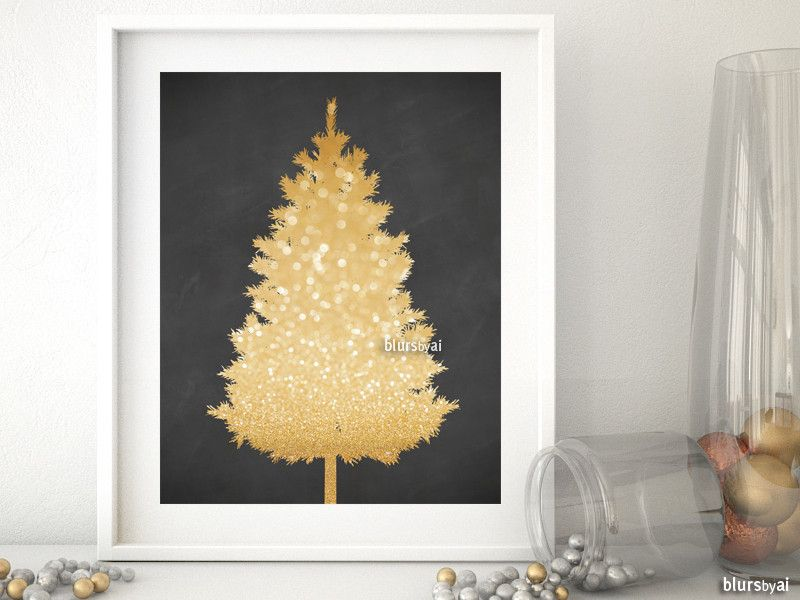Gold glitter and chalkboard Christmas tree alternative, small. This printable can be used as Christmas tree alternative for small spaces.  It can be used just printed or it can be printed and glued to a foam core board or corkboard. Then pin your favorite ornaments and lights :-) fun diy!
