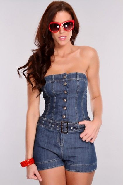 61db2ee86c3 denim short rompers for women