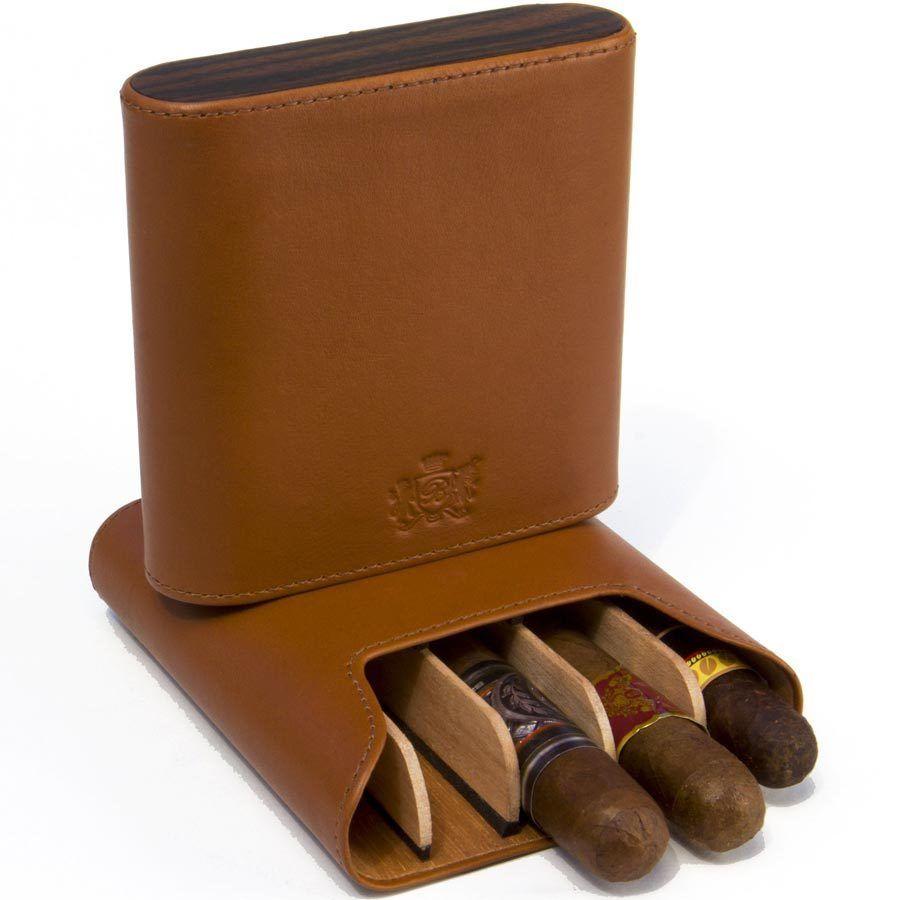 Brizard & Co Sunrise Tan and Ebony 5 Cigar Case by Brizard & Co