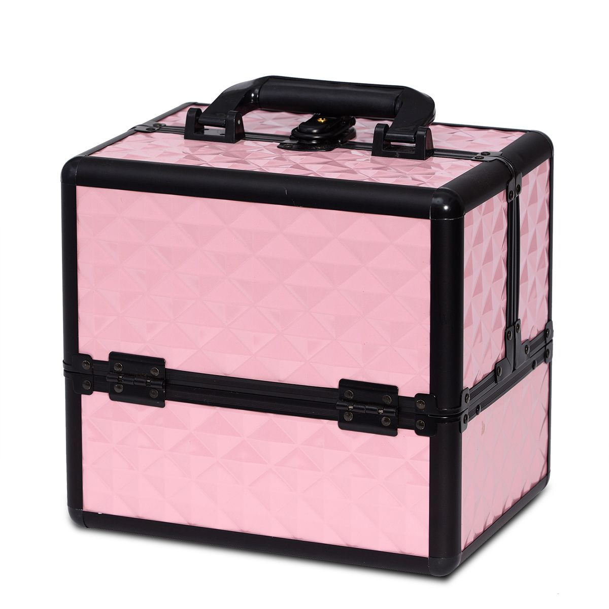 Baby Pink Diamond Makeup Train Case With Three Tire
