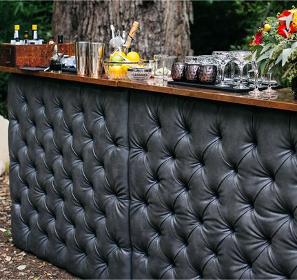Tufted Black Leather And Copper Top Portable Bar Via Birch U0026 Brass Vintage  Rentals For Weddings And Special Events In Austin, Texas