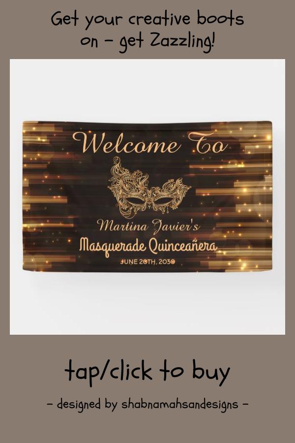 Elegant Masquerade Quinceañera 15th Birthday Banner